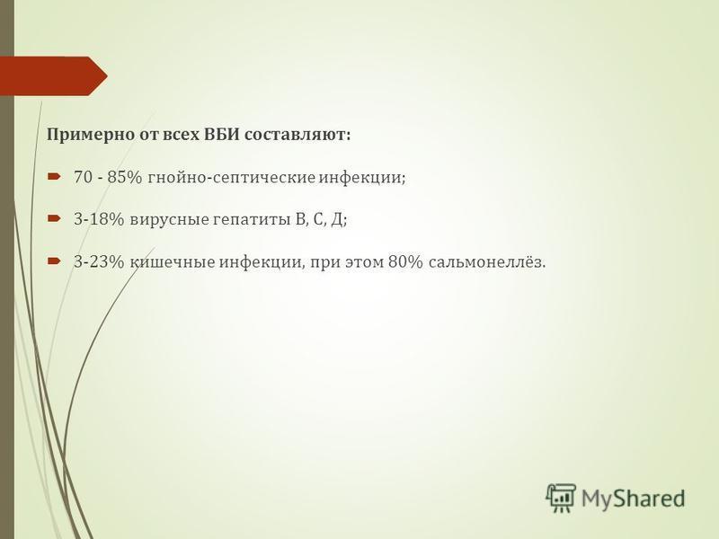 Примерно от всех ВБИ составляют: 70 - 85% гнойно-септические инфекции; 3-18% вирусные гепатиты В, С, Д; 3-23% кишечные инфекции, при этом 80% сальмонеллёз.
