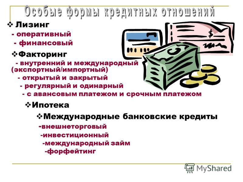 Лизинг - оперативный - финансовый Факторинг - внутренний и международный (экспортный/импортный) - открытый и закрытый - регулярный и одинарный - с авансовым платежом и срочным платежом Ипотека Международные банковские кредиты - внешнеторговый -инвест