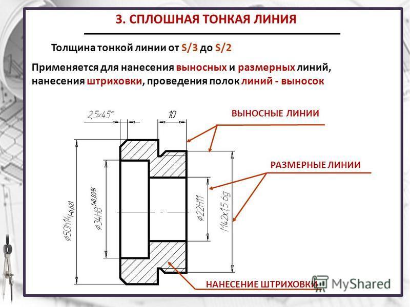 3. СПЛОШНАЯ ТОНКАЯ ЛИНИЯ Толщина тонкой линии от S/3 до S/2 Применяется для нанесения выносных и размерных линий, нанесения штриховки, проведения полок линий - выносок ВЫНОСНЫЕ ЛИНИИ РАЗМЕРНЫЕ ЛИНИИ НАНЕСЕНИЕ ШТРИХОВКИ