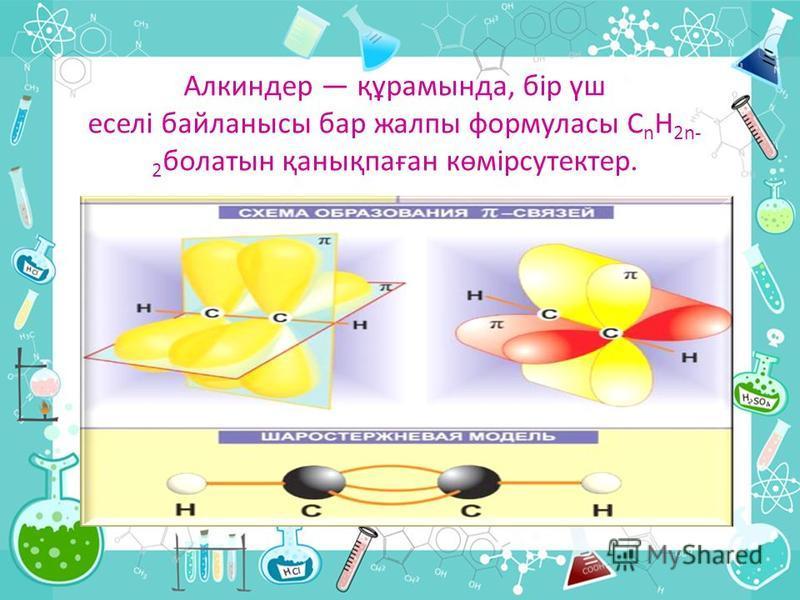 Алкиндер құрамында, бір үш еселі байланысы бар жалпы формуласы С n Н 2n- 2 болатын қанықпаған көмірсутектер.