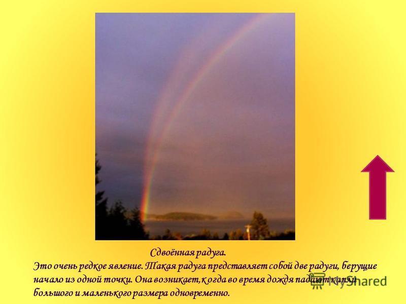 Сдвоённая радуга. Это очень редкое явление. Такая радуга представляет собой две радуги, берущие начало из одной точки. Она возникает,когда во время дождя падают капли большого и маленького размера одновременно.
