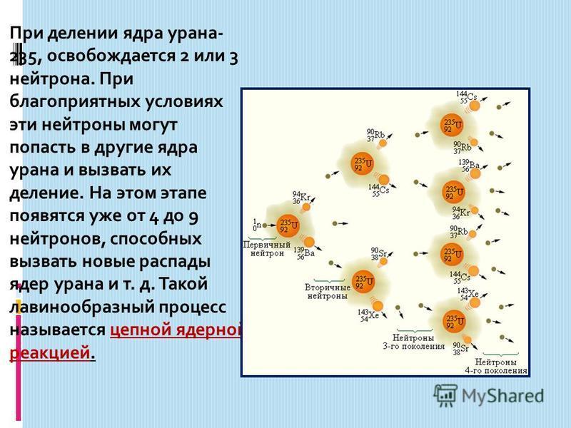 При делении ядра урана- 235, освобождается 2 или 3 нейтрона. При благоприятных условиях эти нейтроны могут попасть в другие ядра урана и вызвать их деление. На этом этапе появятся уже от 4 до 9 нейтронов, способных вызвать новые распады ядер урана и