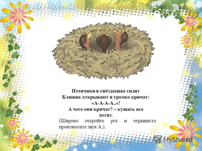 Птенчики в гнёздышке сидят Клювик открывают и громко кричат: «А-А-А-А..»! А чего они кричат? – кушать все хотят. (Широко откройте рот и отрывисто произносите звук А.).
