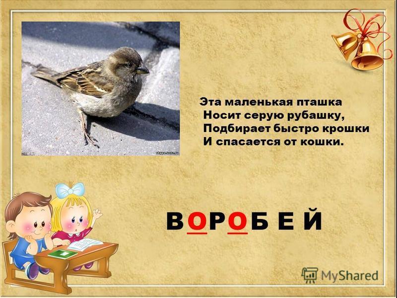 В Р Б Е Й Эта маленькая пташка Носит серую рубашку, Подбирает быстро крошки И спасается от кошки. ОО