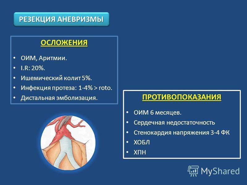 ОСЛОЖЕНИЯ ОИМ, Аритмии. I.R: 20%. Ишемический колит 5%. Инфекция протеза: 1-4% > roto. Дистальная эмболизация. РЕЗЕКЦИЯ АНЕВРИЗМЫ ПРОТИВОПОКАЗАНИЯ ОИМ 6 месяцев. Сердечная недостаточность Стенокардия напряжения 3-4 ФК ХОБЛ ХПН