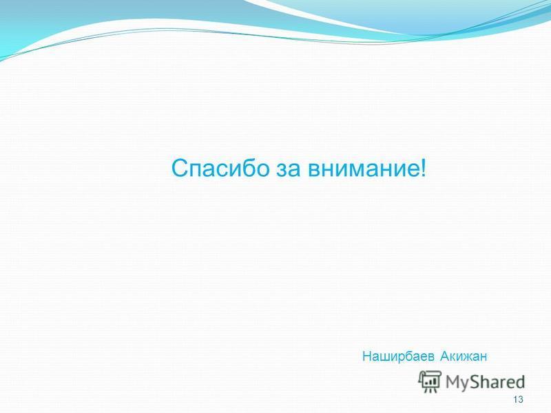 13 Спасибо за внимание! Наширбаев Акижан