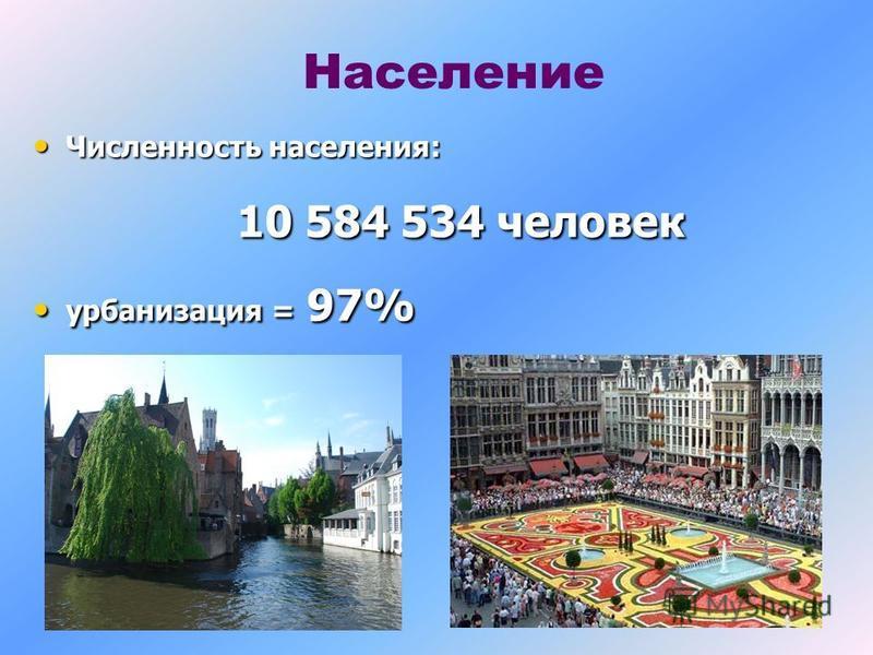 Население Численность населения: Численность населения: 10 584 534 человек урбанизация = 97% урбанизация = 97%