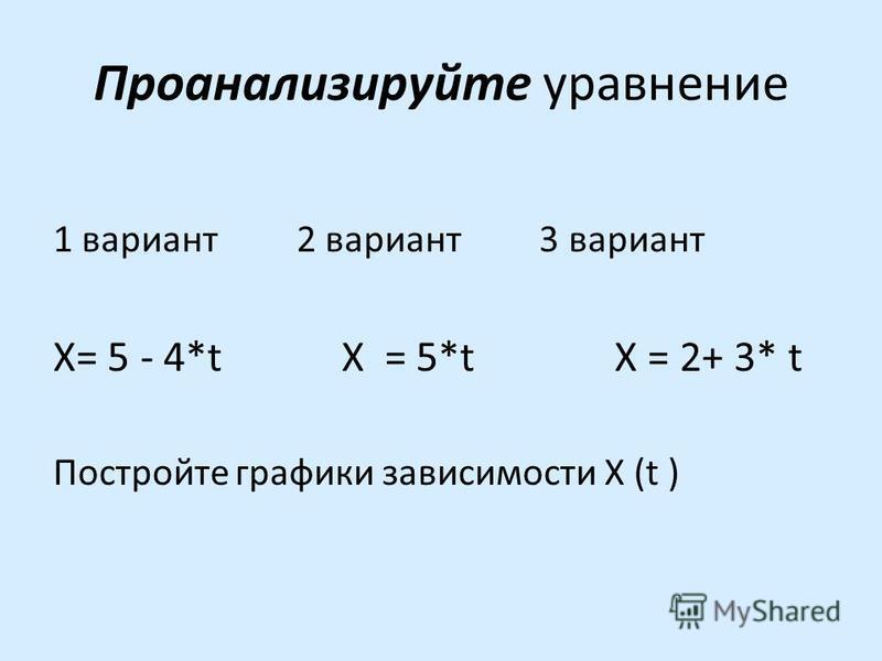Проанализируйте уравнение 1 вариант 2 вариант 3 вариант X= 5 - 4*t X = 5*t X = 2+ 3* t Постройте графики зависимости X (t )