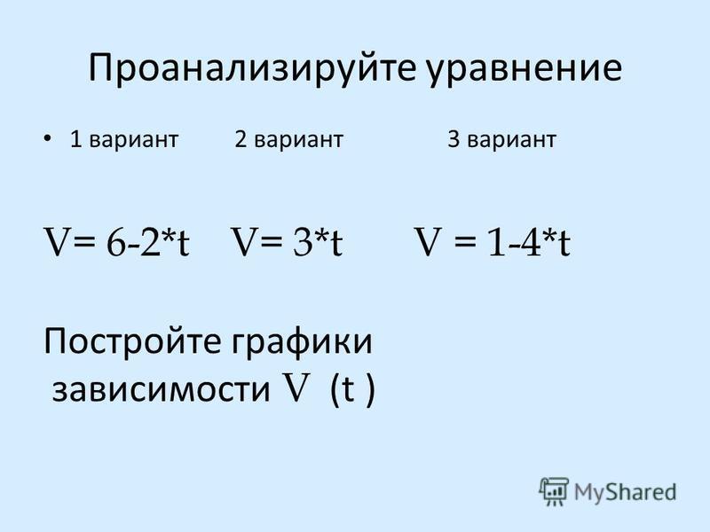 Проанализируйте уравнение 1 вариант 2 вариант 3 вариант V= 6-2*t V= 3*t V = 1-4*t Постройте графики зависимости V (t )