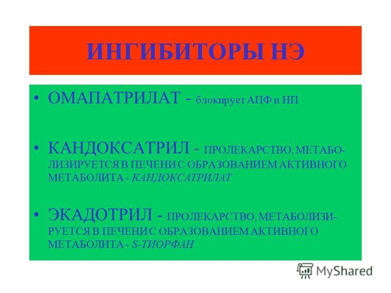 ОМАПАТРИЛАТ - блокирует АПФ и НП КАНДОКСАТРИЛ - ПРОЛЕКАРСТВО, МЕТАБО- ЛИЗИРУЕТСЯ В ПЕЧЕНИ С ОБРАЗОВАНИЕМ АКТИВНОГО МЕТАБОЛИТА - КАНДОКСАТРИЛАТ ЭКАДОТРИЛ - ПРОЛЕКАРСТВО, МЕТАБОЛИЗИ- РУЕТСЯ В ПЕЧЕНИ С ОБРАЗОВАНИЕМ АКТИВНОГО МЕТАБОЛИТА - S-ТИОРФАН