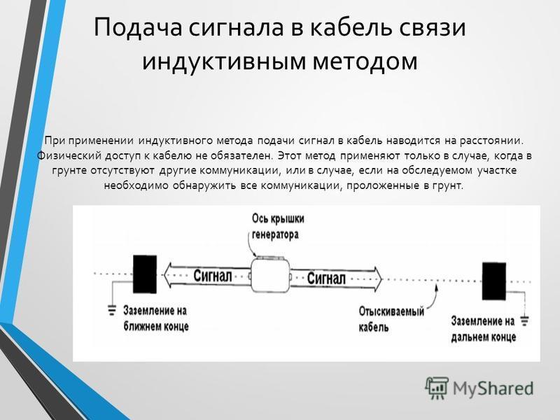 Подача сигнала в кабель связи индуктивным методом При применении индуктивного метода подачи сигнал в кабель наводится на расстоянии. Физический доступ к кабелю не обязателен. Этот метод применяют только в случае, когда в грунте отсутствуют другие ком