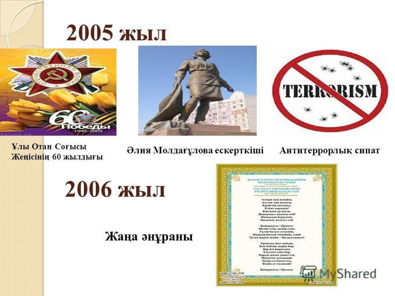 2005 жил Әлия Молдағұлова ескерткішіАнтитеррорлық писать Ұлы Отан Соғысы Жеңісінің 60 жилдығы 2006 жил Жаңа әнұраны