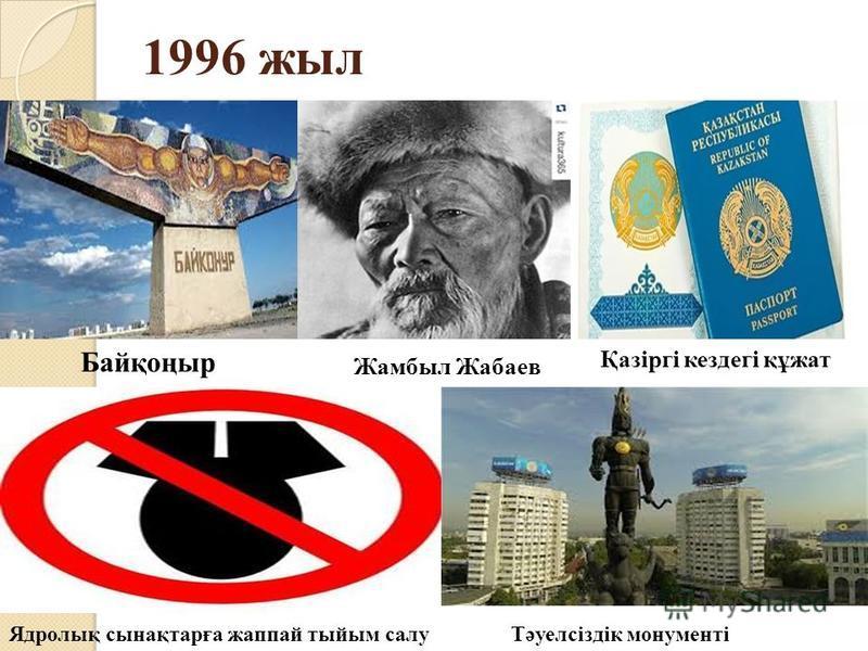 1996 жил Байқоңыр Қазіргі кездегі құжат Ядролық сынақтарға жаппай тыйым салуТәуелсіздік монументі Жамбыл Жабаев