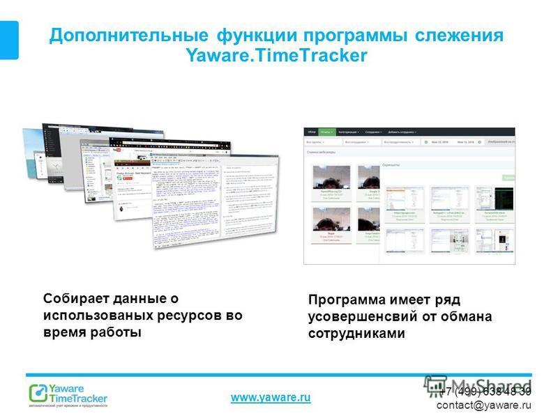 +7 (499) 638 48 39 contact@yaware.ru www.yaware.ru Дополнительные функции программы слежения Yaware.TimeTracker Собирает данные о использованных ресурсов во время работы Программа имеет ряд усовершенсвий от обмана сотрудниками