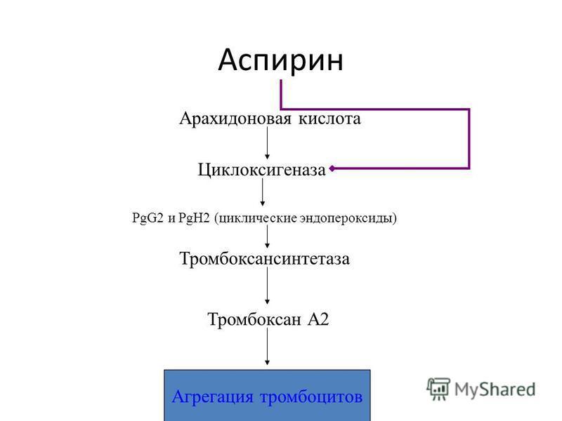 Аспирин Арахидоновая кислота Циклоксигеназа PgG2 и PgH2 (циклические эндопероксиды) Тромбоксансинтетаза Тромбоксан А2 Агрегация тромбоцитов