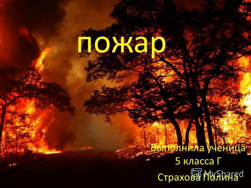 Выполнила ученица 5 класса Г Страхова Полина пожар