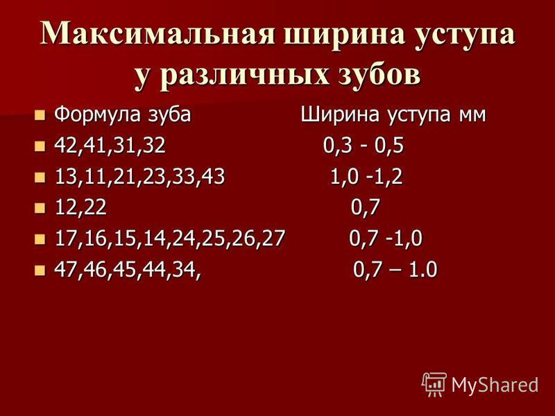 Максимальная ширина уступа у различных зубов Формула зуба Ширина уступа мм Формула зуба Ширина уступа мм 42,41,31,32 0,3 - 0,5 42,41,31,32 0,3 - 0,5 13,11,21,23,33,43 1,0 -1,2 13,11,21,23,33,43 1,0 -1,2 12,22 0,7 12,22 0,7 17,16,15,14,24,25,26,27 0,7