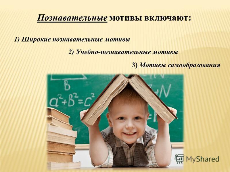1) Широкие познавательные мотивы Познавательные мотивы включают: 2) Учебно-познавательные мотивы 3) Мотивы самообразования