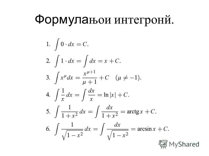 Формулањои интегронй.
