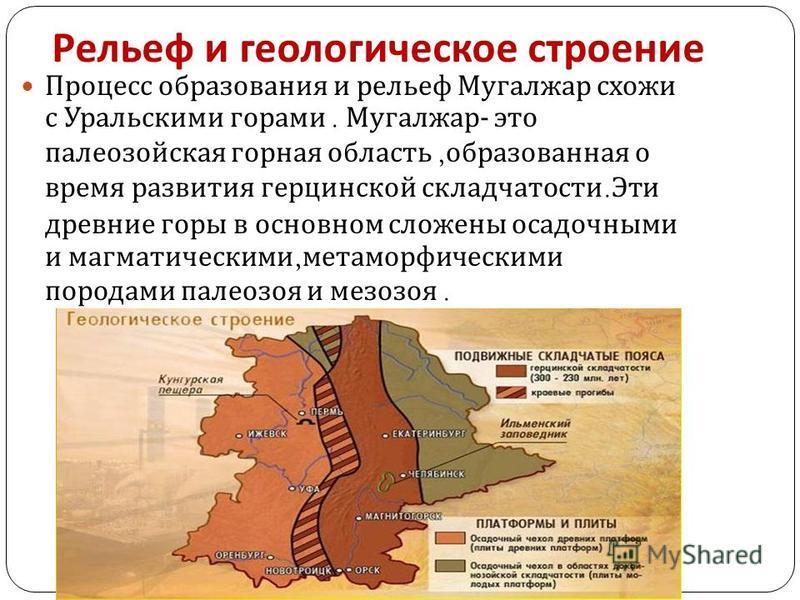 Рельеф и геологическое строение Процесс образования и рельеф Мугалжар схожи с Уральскими горами. Мугалжар - это палеозойская горная область, образованная о время развития герцинской складчатости. Эти древние горы в основном сложены осадочными и магма