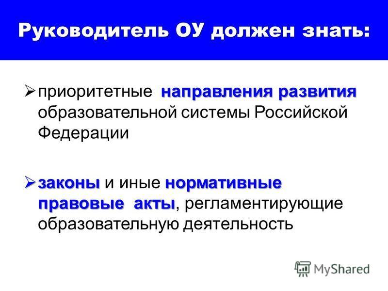Руководитель ОУ должен знать Руководитель ОУ должен знать: направления развития приоритетные направления развития образовательной системы Российской Федерации законы нормативные правовые акты законы и иные нормативные правовые акты, регламентирующие