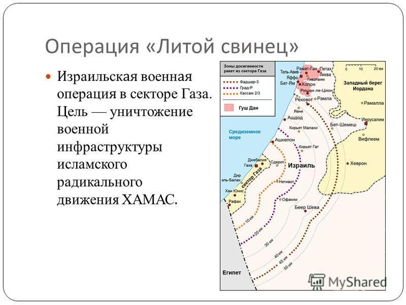 Операция « Литой свинец » Израильская военная операция в секторе Газа. Цель уничтожение военной инфраструктуры исламского радикального движения ХАМАС.