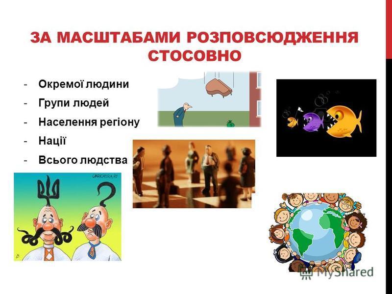 ЗА МАСШТАБАМИ РОЗПОВСЮДЖЕННЯ СТОСОВНО -Окремої людини -Групи людей -Населення регіону -Нації -Всього людства