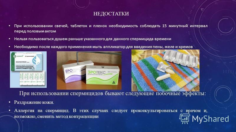НЕДОСТАТКИ При использовании свечей, таблеток и пленок необходимость соблюдать 15 минутный интервал перед половым актом Нельзя пользоваться душем раньше указанного для данного спермицида времени Необходимо после каждого применения мыть аппликатор для