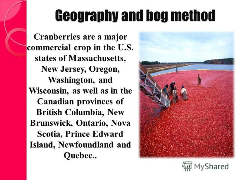 Geography and bog method Cranberries are a major commercial crop in the U.S. states of Massachusetts, New Jersey, Oregon, Washington, and Wisconsin, as well as in the Canadian provinces of British Columbia, New Brunswick, Ontario, Nova Scotia, Prince