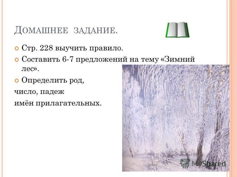 Д ОМАШНЕЕ ЗАДАНИЕ. Стр. 228 выучить правило. Составить 6-7 предложений на тему «Зимний лес». Определить род, число, падеж имён прилагательных.