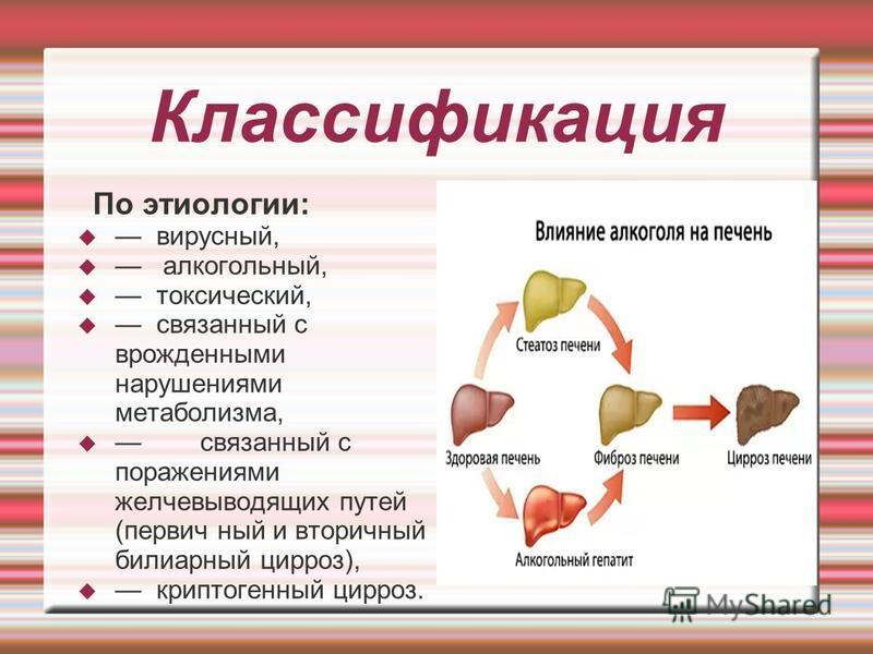 Классификация По этиологии: вирусный, алкогольный, токсический, связанный с врожденными нарушениями метаболизма, связанный с поражениями желчевыводящих путей (первичный и вторичный билиарный цирроз), криптогенный цирроз.
