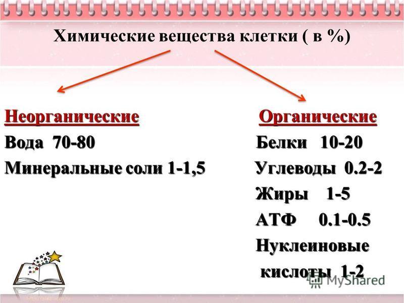 Химические вещества клетки ( в %) Неорганические Органические Вода 70-80 Белки 10-20 Минеральные соли 1-1,5 Углеводы 0.2-2 Жиры 1-5 Жиры 1-5 АТФ 0.1-0.5 АТФ 0.1-0.5 Нуклеиновые Нуклеиновые кислоты 1-2 кислоты 1-2