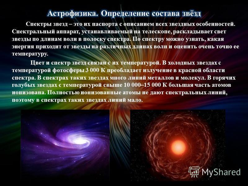 Спектры звезд – это их паспорта с описанием всех звездных особенностей. Спектральный аппарат, устанавливаемый на телескопе, раскладывает свет звезды по длинам волн в полоску спектра. По спектру можно узнать, какая энергия приходит от звезды на различ