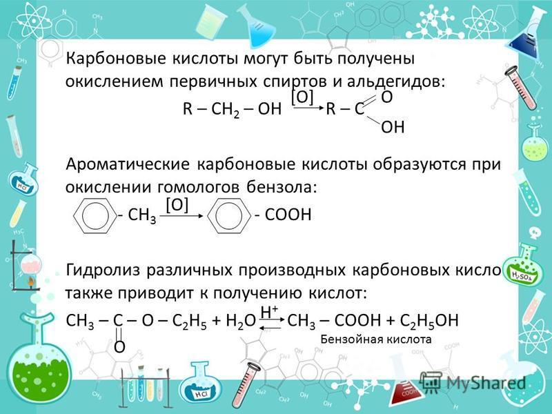 Карбоновые кислоты могут быть получены окислением первичных спиртов и альдегидов: R – CH 2 – OH R – C Ароматические карбоновые кислоты образуются при окислении гомологов бензола: - CH 3 - COOH Гидролиз различных производных карбоновых кисло также при
