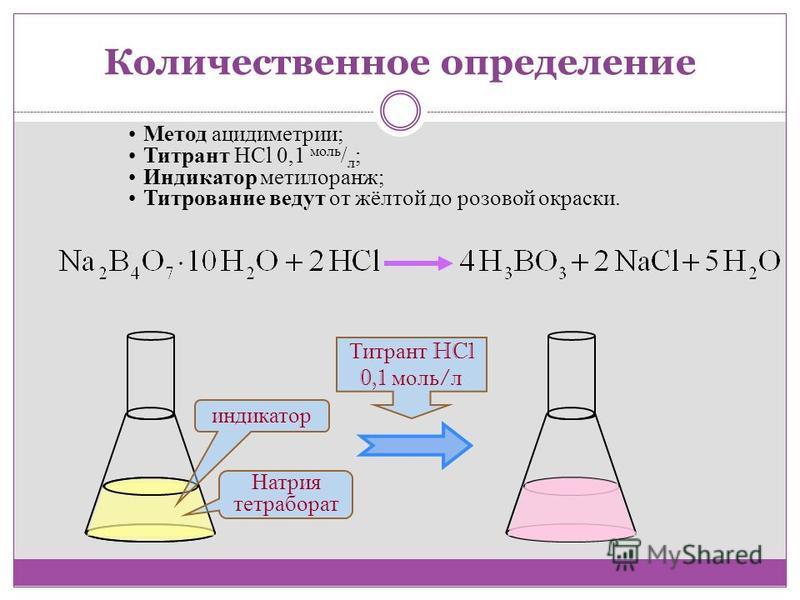 Метод ацидиметрии; Титрант HCl 0,1 моль / л ; Индикатор метилоранж; Титрование ведут от жёлтой до розовой окраски. Титрант HCl 0,1 моль / л индикатор Натрия тетраборат Количественное определение