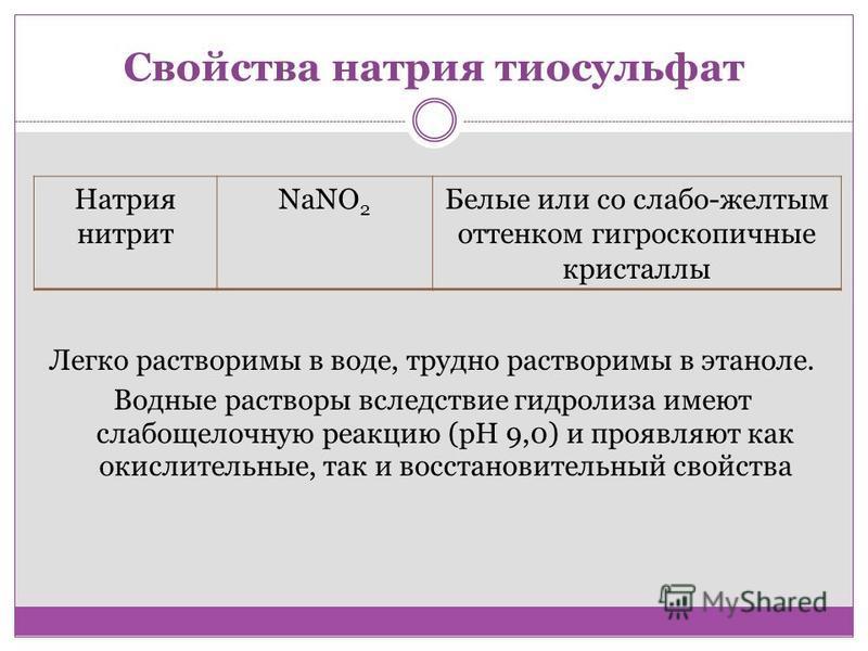 Свойства натрия тиосульфат Легко растворимы в воде, трудно растворимы в этаноле. Водные растворы вследствие гидролиза имеют слабощелочную реакцию (pH 9,0) и проявляют как окислительные, так и восстановительный свойства Натрия нитрит NaNO 2 Белые или