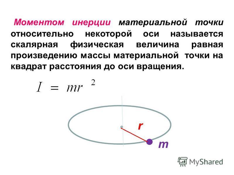 Моментом инерции материальной точки относительно некоторой оси называется скалярная физическая величина равная произведению массы материальной точки на квадрат расстояния до оси вращения. r m
