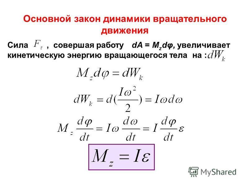 Основной закон динамики вращательного движения Сила, совершая работу dA = M z dφ, увеличивает кинетическую энергию вращающегося тела на :