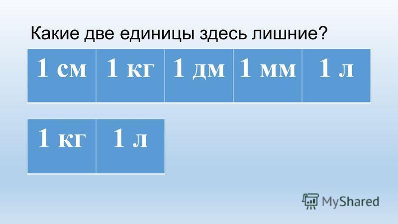 Какие две единицы здесь лишние? 1 кг 1 л 1 см 1 кг 1 дм 1 мм 1 л