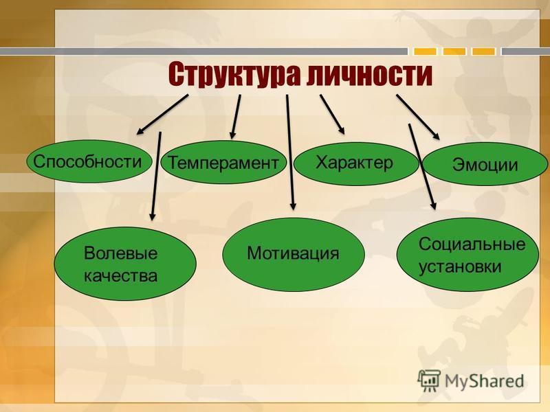 Структура личности Способности Темперамент Характер Эмоции Волевые качества Мотивация Социальные установки