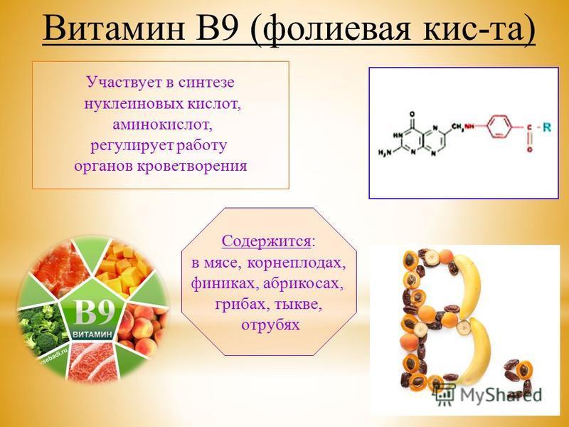 Участвует в синтезе нуклеиновых кислот, аминокислот, регулирует работу органов кроветворения Содержится: в мясе, корнеплодах, финиках, абрикосах, грибах, тыкве, отрубях Витамин В9 (фолиевая кис-та)
