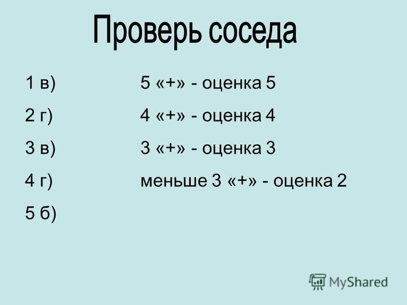 1 в) 2 г) 3 в) 4 г) 5 б) 5 «+» - оценка 5 4 «+» - оценка 4 3 «+» - оценка 3 меньше 3 «+» - оценка 2
