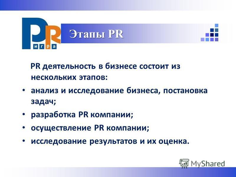 PR деятельность в бизнесе состоит из нескольких этапов: анализ и исследование бизнеса, постановка задач; разработка PR компании; осуществление PR компании; исследование результатов и их оценка. Этапы PR