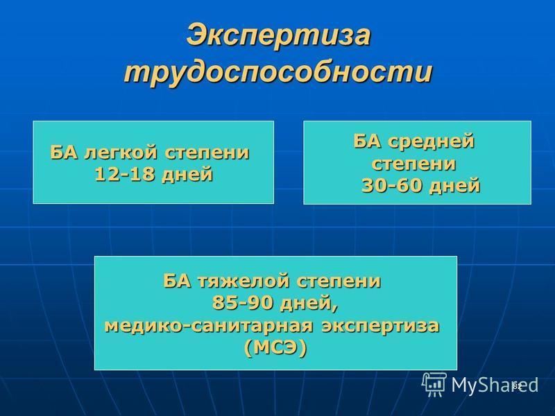 82 Экспертиза трудоспособности БА легкой степени 12-18 дней БА средней степени 30-60 дней 30-60 дней БА тяжелой степени 85-90 дней, 85-90 дней, медико-санитарная экспертиза (МСЭ)