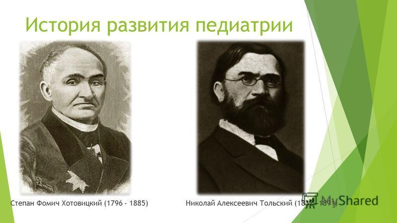 История развития педиатрии Степан Фомич Хотовицкий (1796 - 1885) Николай Алексеевич Тольский (18321891)