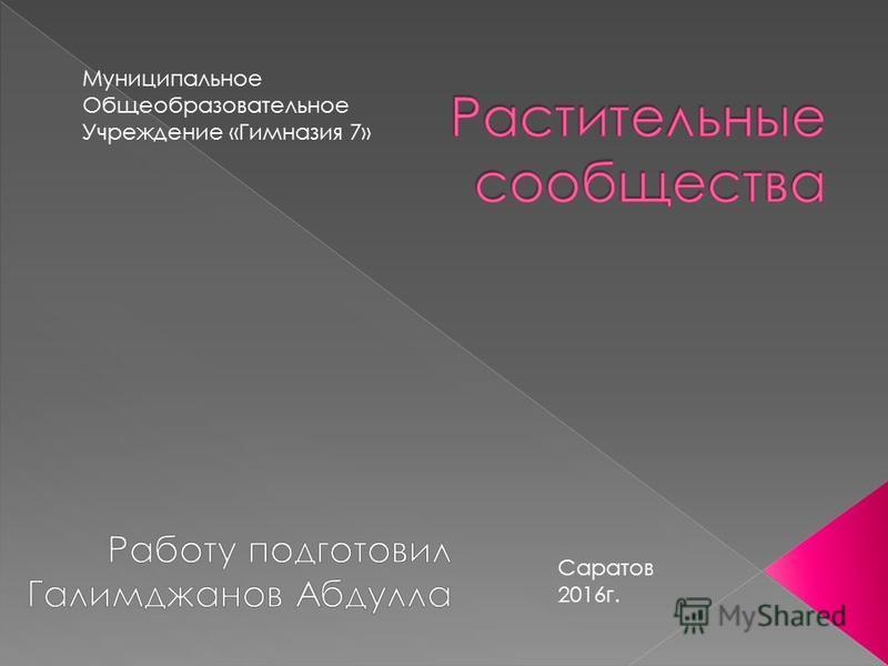 Муниципальное Общеобразовательное Учреждение «Гимназия 7» Саратов 2016 г.