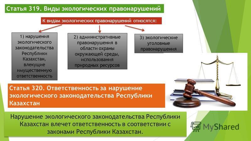 Статья 319. Виды экологических правонарушений К видам экологических правонарушений относятся: 1) нарушения экологического законодательства Республики Казахстан, влекущие имущественную ответственность 2) административные правонарушения в области охран