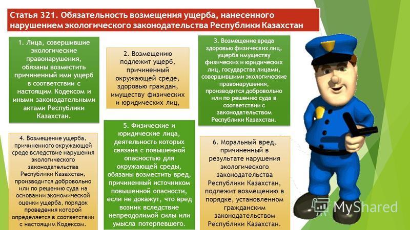 Статья 321. Обязательность возмещения ущерба, нанесенного нарушением экологического законодательства Республики Казахстан 1. Лица, совершившие экологические правонарушения, обязаны возместить причиненный ими ущерб в соответствии с настоящим Кодексом