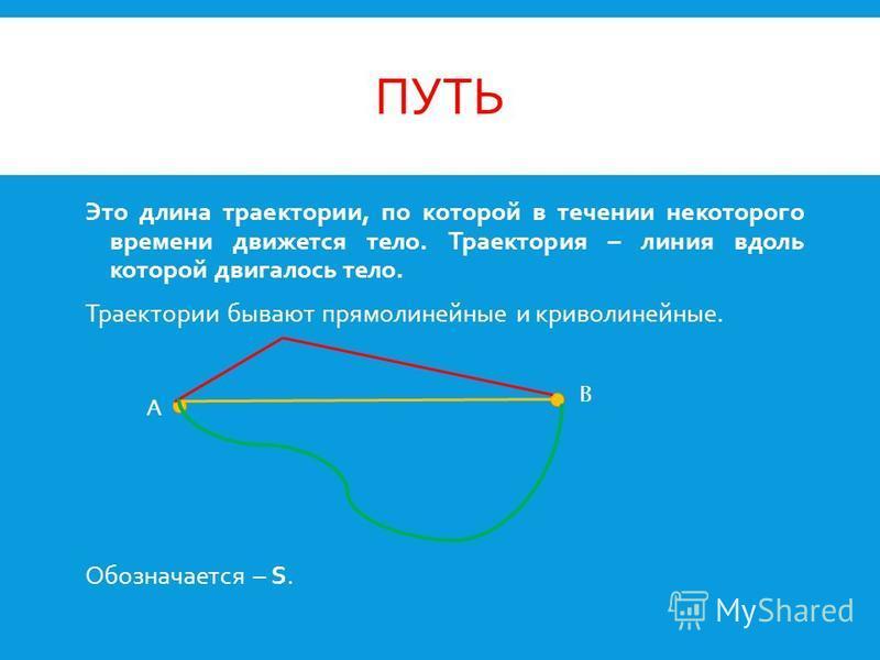 ПУТЬ Это длина траектории, по которой в течении некоторого времени движется тело. Траектория – линия вдоль которой двигалось тело. Траектории бывают прямолинейные и криволинейные. Обозначается – S. A B