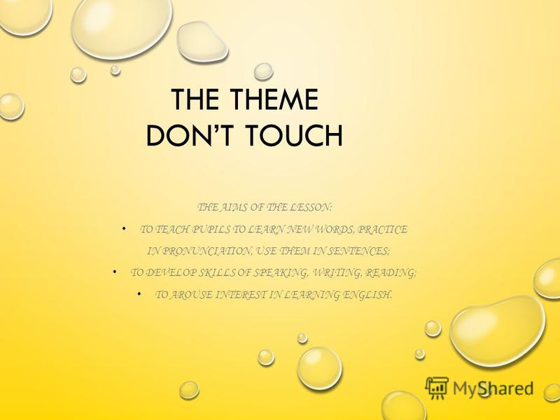 THE THEME DONT TOUCH THE AIMS OF THE LESSON: TO TEACH PUPILS TO LEARN NEW WORDS, PRACTICE IN PRONUNCIATION, USE THEM IN SENTENCES; TO DEVELOP SKILLS OF SPEAKING, WRITING, READING; TO AROUSE INTEREST IN LEARNING ENGLISH.